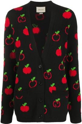 Gucci GG Apple intarsia-knit cardigan