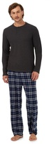 Maine New England Big And Tall Grey Long Sleeved Top And Checked Trousers Loungewear Set