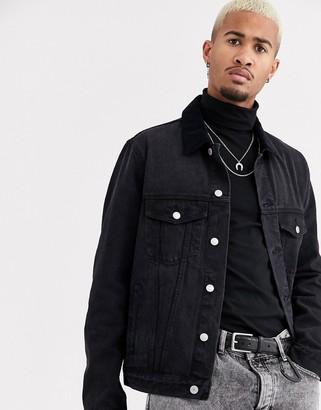 Topman denim jacket with cord collar in black