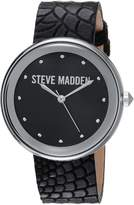 Steve Madden Women's Quartz Silver-Tone Casual Watch, Color: (Model: SMW044BK)