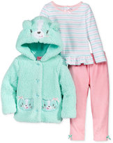Nannette Baby Girls' 3-Pc. Faux Fur Cat Hoodie, Top & Velour Leggings Set