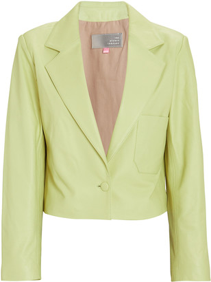 The Mighty Company The Regents Cropped Leather Blazer