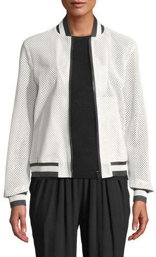 Michael Kors Perforated Leather Bomber Jacket