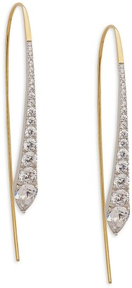 Adriana Orsini Goldplated Rhodium-Plated Sterling Silver Crystal Threaded Drop Earrings