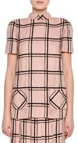 Valentino Sequined Windowpane Mock-Neck Top, Blush