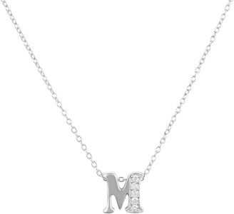Latelita Diamond Initial Letter Pendant Necklace Silver M