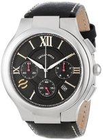 Philip Stein Teslar Men's 45-CRBK-CSTB Round Black Chronograph Dial Black Stitched Calf Strap Watch