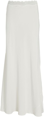 SIR the Label Alma Lace-Trimmed Silk Skirt