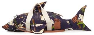Loewe Paula's Ibiza - Shark Mermaid-print Canvas Duffle Bag - Blue Multi