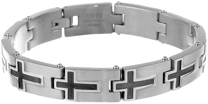 JCPenney FINE JEWELRY Mens Stainless Steel & Black IP Cross Link Bracelet