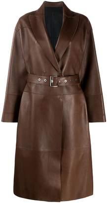 Brunello Cucinelli belted leather coat