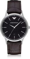 Emporio Armani Black Dial Stainless Steel Men's Watch w/Leather Strap
