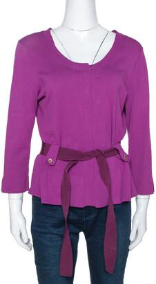Carolina Herrera Fuschia Stretch Knit Belted Cardigan L
