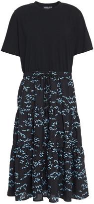 Markus Lupfer Kia Paneled Cotton-jersey And Printed Crepe Midi Dress