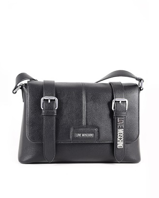 Love Moschino Black Eco-Leather Shoulder Bag w/Signature Buckles