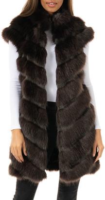 Fabulous Furs Manhattan Mink Faux-Fur Long Vest - Inclusive Sizing