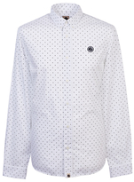 Pretty Green Horlock Long Sleeve Polka Dot Shirt, White