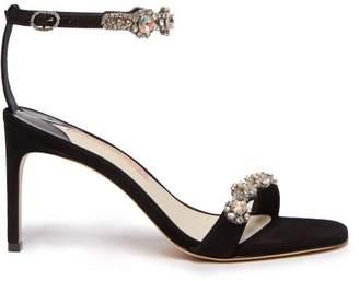 Sophia Webster Aaliyah Crystal Embellished Suede Sandals - Womens - Black