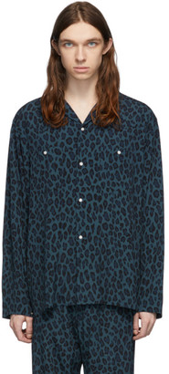 Needles Blue and Black Leopard Shirt