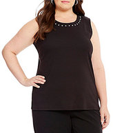 Allison Daley Plus Sleeveless Embellished Solid Knit Top
