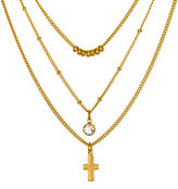 MIXIT Mixit Crystal-Accent 3-Row Cross and Bead Necklace