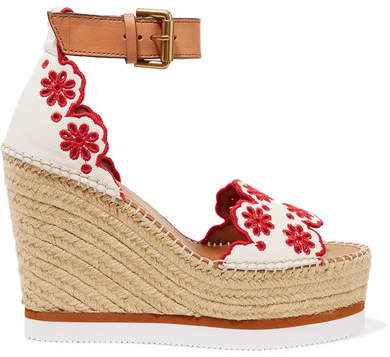 See by Chloe Embroidered Laser-cut Suede And Leather Espadrille Wedge Sandals - White