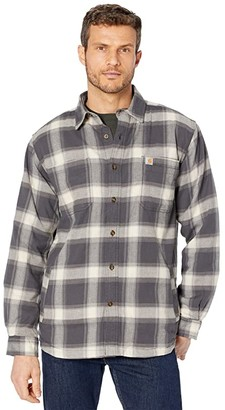 Carhartt Rugged Flex Relaxed Fit Flannel Fleece Lined Plaid Shirt (Shadow) Men's Clothing