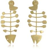 Tory Burch Fish Bone Vintage Goldtone Brass Earrings