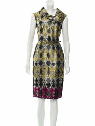 Oscar de la Renta Brocade Sleeveless Dress Yellow