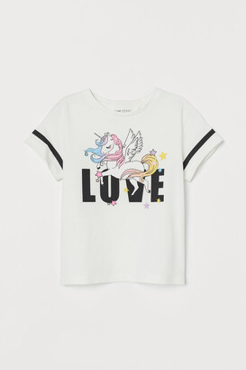 H&M Printed Jersey Top - White