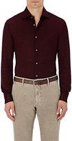 Luciano Barbera Men's Cotton Piqué Shirt-BURGUNDY