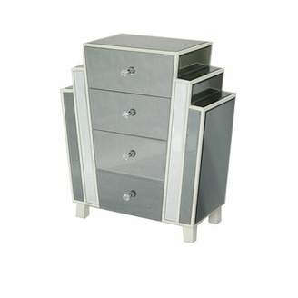 Artdeco Cary Art-Deco Mirrored 4 Drawer Accent Chest Rosdorf Park Color: Gray