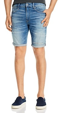 G Star 3301 Denim Slim Fit Shorts in Vintage Striking Blue