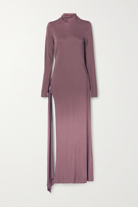 ATTICO Tie-detailed Cutout Jersey Maxi Dress - Plum