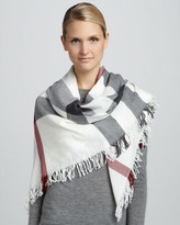 Burberry Check Extra Fine Wool Scarf, Ivory