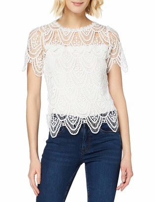 New Look Women's T Crochet LACE Frill TEE Shirt