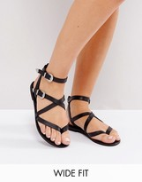 Asos FIASCO Wide Fit Western Buckle Flat Sandals
