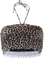 Ganni leopard print bikini top