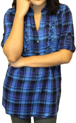 TopsandDresses Ladies Frill Checked Shirt Blue Purple or Grey in Women's UK Size 12 EU 40 Blue