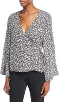 A.L.C. Ray Deep-V Bell-Sleeve Printed Silk Top