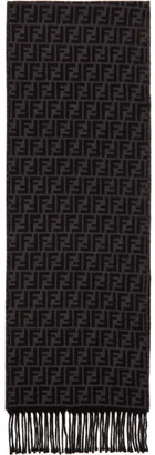 Fendi Black and Grey Wool Forever Scarf