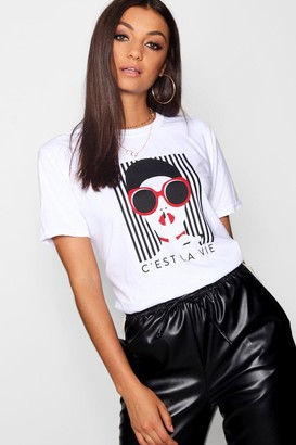 boohoo Tall French Slogan Face Print T-Shirt