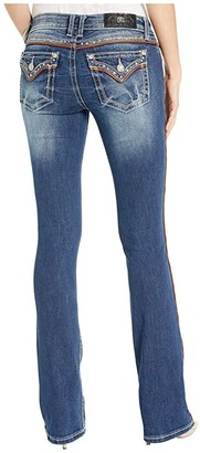 Miss Me Leather Piping Chloe Bootcut Jeans in Dark Blue