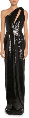 Saint Laurent Sequined One-Shoulder Gown