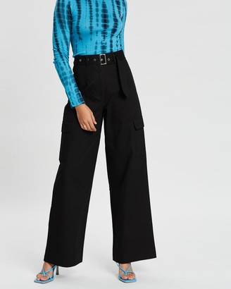 Dazie Surreal Wide-Leg Belted Pants