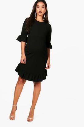 boohoo Maternity Curve Hem Ruffle Shift Dress
