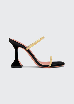 Amina Muaddi 95mm Henson Mixed Leather Sandals