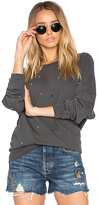 The Great The College Multi Dot Embroidery Sweatshirt in Gray. - size 0 / XS (also in 2 / M)