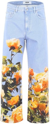 MSGM Floral Printed Cropped Jeans