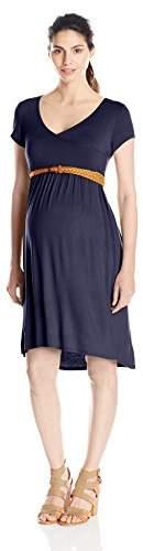 Three Seasons Maternity Women's Maternity Short Sleeve V-Neck Solid Hi Lo Dress